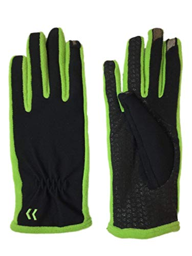 Isotoner Smart Touch Womens Black & Apple Green Tech Text Gloves Smartouch XS/S