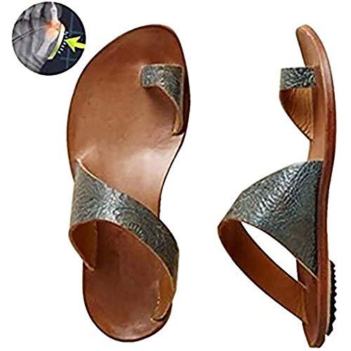 BHHT Sandalias De Cuña para Mujer Sandalias De Corrección De Hueso del Dedo Gordo Zapatillas De Punta Abierta Zapatos Antideslizantes Plataforma Cómoda Chanclas Playa De Verano