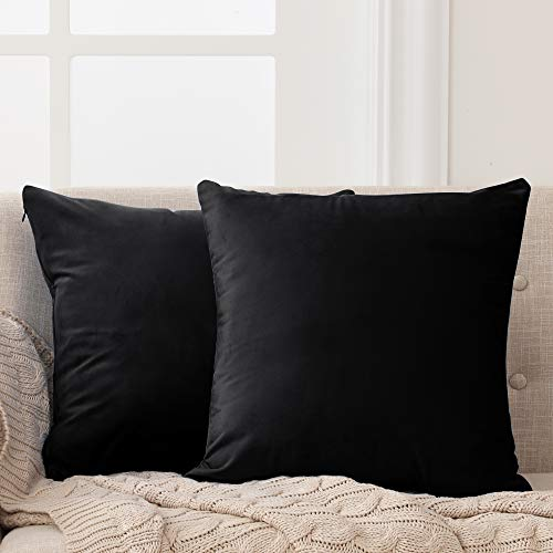 Deconovo Set of 2 Cushion Protectors Crushed Velvet Cushion Covers 45cm x 45cm 18x18 Inches Throw Pillow Cases for Boys with Invisible Zipper Black