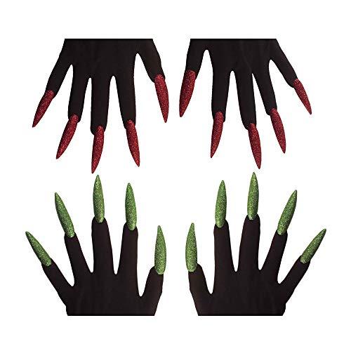 Widmann 4631U - Hexenhandschuhe mit Krallen, Sortiert, rot / grün