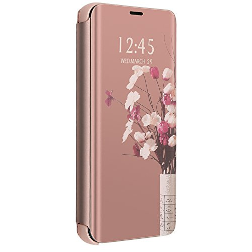 Apple iPhone 6 Hülle, iPhone 6s Schutzhülle PU-Leder Flip Spiegel Handyhülle iPhone 6 360-Grad-Schutz Tasche mit Standfunktion iPhone 6s Original Ledertasche (Apple iPhone 6/6S, Rose Gold)
