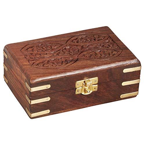 Orientalische kleine Aufbewahrungsbox mit Deckel Doaa 16cm   Orientalischer Schmuckkästchen für Mädchen und Damen zur Schmuckaufbewahrung   Marokkanische Schatulle Box aus Holz