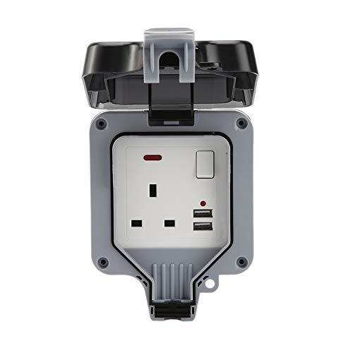 Toma de corriente eléctrica doble a prueba de viento para la lluvia al aire libre, IP66 impermeable, puerto de carga USB, adecuado para la familia del jardín y la toma de corriente externa (una fila)