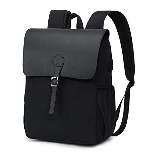 Wind Took Retro Damen Rucksack Canvas Daypack Laptop Notebook Backpack 15 Zoll mit USB Kabel für Uni Casual Alltag Freizeit, 27x14x38 cm, Schwarz