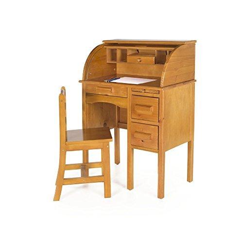 Guidecraft Jr. Roll-Top Study Desk and Chair Set Light Oak - Storage Shelf 4d82d2527c