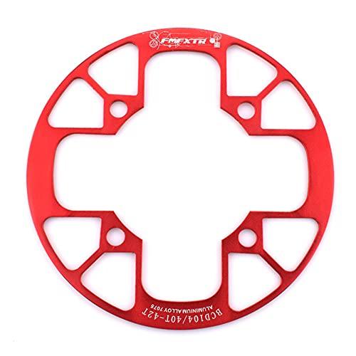 SHHMA 104BCD Piastra di Protezione del Disco Copertura della Ruota dentata per Mountain Bike Bicicletta Roulette Gear Dente Positivo e Negativo Copertura di Protezione del Disco Singolo,Rosso,40 42T