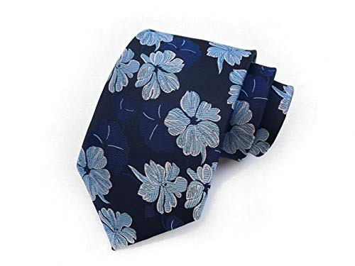 Chris Vu Edles Krawattenset mit spektakulärem und detailreichem Blumen-Muster in silbernen und blauen Farbtönen auf schwarzem Grund