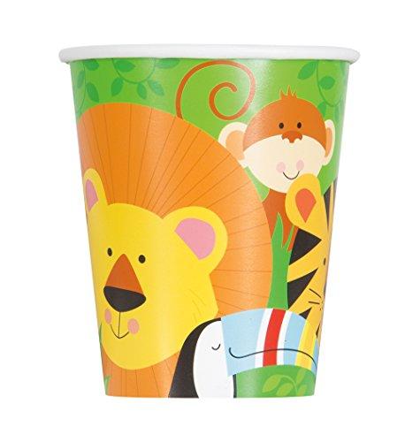 Unique Party- Vasos de Papel Fiesta de Animales de la Selva, 8 Unidades, Multicolor, talla única (52086)