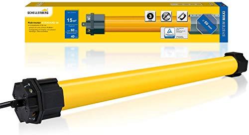 Schellenberg 20640 Rolladenmotor Maxi Standard 20 Nm, bis zu 15 m² Fläche/Rohrmotor für 60 mm Welle, Komplettset inkl. Wandlager
