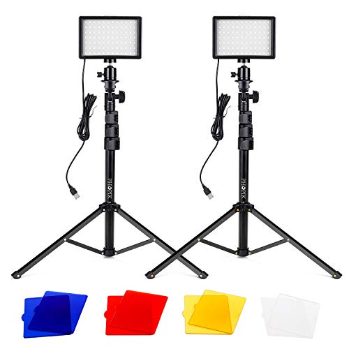 PHOPIK Portable Photography Video Light Kit, Continuous Photography Lighting with Adjustable Tripod Stand & Color Filters for Tabletop Low-Angle Shooting, for Zoom, Game Streaming, YouTube -2 Pcs