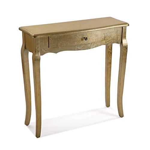 Versa Cagliari Mueble Recibidor Estrecho para la Entrada o el Pasillo, Mesa Consola, con 1 cajón, Medidas (Al x L x An) 80 x 30 x 80 cm, Madera, Color Dorado