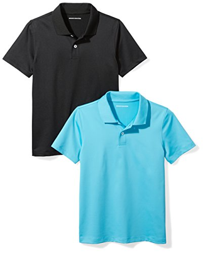 Amazon Essentials Performance (2 Pack) polo-shirts, Aqua/Black, EU 128 cm (Label: Medium)