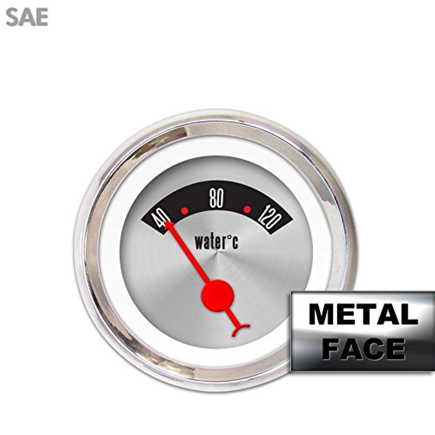 Aurora Instruments 2312 American Retro Rodder Assembled Water Temperature Gauge (Red Classic Needles, Chrome Bezels)