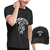 AYYUCY Camisetas y Tops Hombre Polos y Camisas, Dingtai Sons of Anarchy Reaper Crew Men's Short Sleeve T Shirt and Adult Washed Cowboy Hat