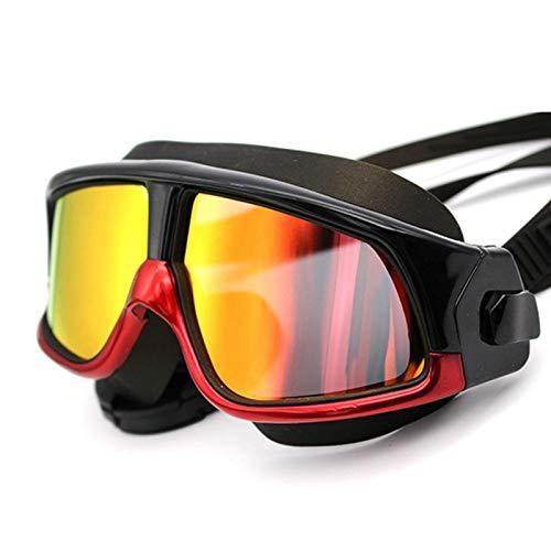 Gafas de natación, protección UV antivaho sin Fugas Gafas de natación, Gafas de natación de Ajuste cómodo y Ajustable de visión Amplia para Adultos y jóvenes,Rojo