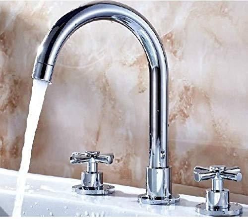 Grifo mezclador de baño con asas dobles Grifo de lavabo de tres agujeros de latón cromado