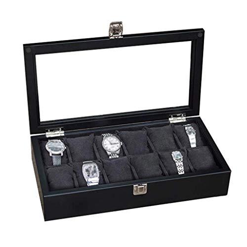 GQSHK GQSHK 12-Slot Watch Display Aufbewahrungsbox Armband Tablett weiches Innenfutter mit 12 abnehmbaren Kissen, Metallverschluss mit Glasdeckel für Männer und Frauen (schwarz)