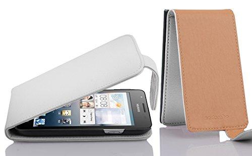 Cadorabo Hülle für Huawei Ascend G525 / G520 in Magnesium WEIß - Handyhülle im Flip Design aus Strukturiertem Kunstleder - Hülle Cover Schutzhülle Etui Tasche Book Klapp Style