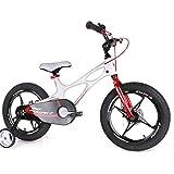 Kids Bike Garçons Filles Espace pour 14 Ans 2-9 Pouces Magnésium Vélo 2 Freins À Disque À La Main Cycle De Formation Roues Ou Béquille Enfant De Vélos,Blanc