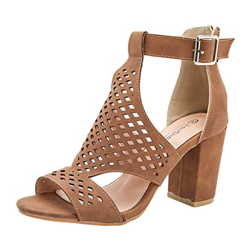 URIBAKY Plateau Sandalen Sommermode Schuhe für Frauen,Sandalen Damen Keilabsatz Hohl Reißverschluss Damenschuhe Fisch Mund Sandalen