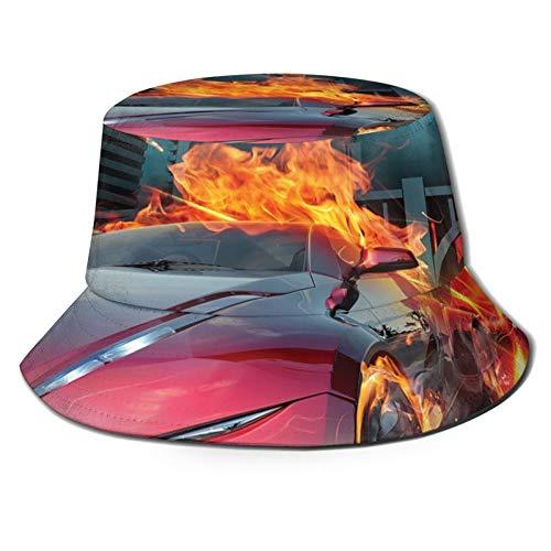 Sombrero de poliéster con diseño de cubo de color rojo caliente para coche en llamas, para construcción y pájaros que aceleran rápido, sombrero de sol para hombres y mujeres