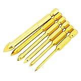 Brocas de perforación de acero de alta velocidad Brocas de taladro Brocas de ranura Prácticas 6 piezas para baldosas de cerámica para suelos de madera