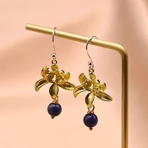 SALAN Pendientes Colgantes De Agua con Flor De Lapislázuli Natural para Mujer, Pendientes De Gota De Planta De Plata De Ley 925, Joyería Fina