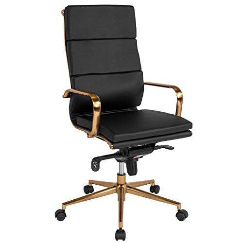 Flash Furniture High Back Black LeatherSoft Executive Swivel Office Chair with Gold Frame, Synchro-Tilt Mechanism and Arms, BIFMA Certified