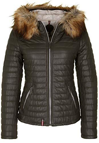 Oakwood Damen Lederjacke mit Fake-Fur Kragen Abnehmbarer Besatz aus Fellimitat an der Kapuze