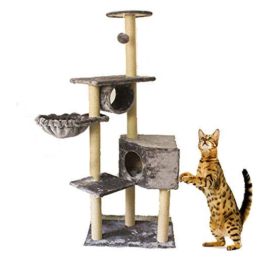 WAFOR Cat Tree Activiteitscentrum met krabpaal gedekt zacht glad pluche, verticale krab, hangmat, mand en Condo kattenmeubels