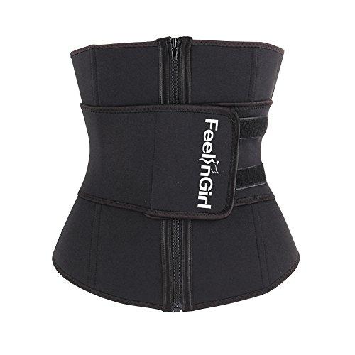 Feelinril Women's Neoprene Underbust Corset Waist Training Cincher XL Black
