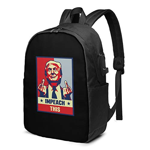 Pro Donald Trump Gifts Republican Conservative Impeach Laptop Backpack with USB Charging Port, Business Bag, Bookbag | Fits Most 17 Inch Laptops and Tablets