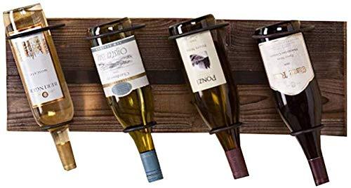 DJSMjbj Weinregal zum Aufhängen, Holz, für bis zu 4 Flaschen, schwebendes Weinregal, Elegante Aufbewahrung für Küche, Esszimmer, Bar oder Weinkeller