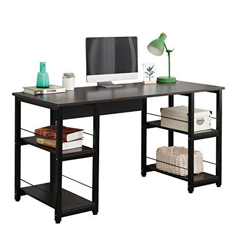 Soges Home Office Desk 55 inches Computer Desk,Morden Style Desk with Shelves Worksation Desk, Storage Desk Black DZ012-140-H
