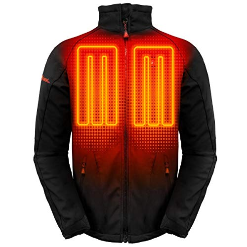 ActionHeat 5V Battery Heated Jacket for Men with Tri-Zone Heating, Touch Control, Machine Washable - Winter Heating Jacket for Skiing, Camping, Motorcycling, Hiking - Black