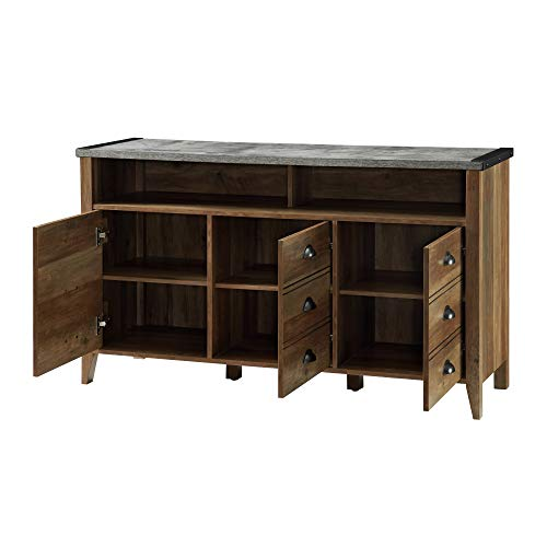 """Walker Edison Furniture Company Industrial Farmhouse Wood Universal Stand Cabinents for TV's up to 58"""" Flat Screen…"""