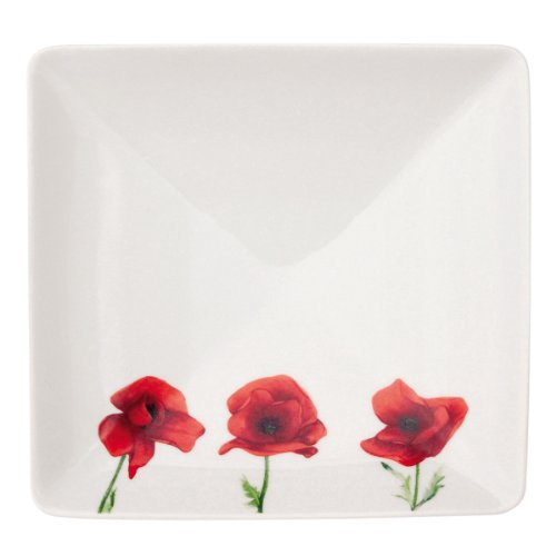 Guy Degrenne Vent de Coquelicots (Poppy Breeze) Set di 2 Ciotole 16 cm Square-Red