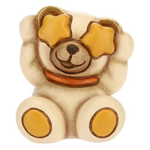 THUN - Teddy Emoticon Occhi a Stelle - Idea Regalo - Linea Teddy Emoticon - Formato Mini - Ceramica - 4 x 3,6 x 3,5 h cm