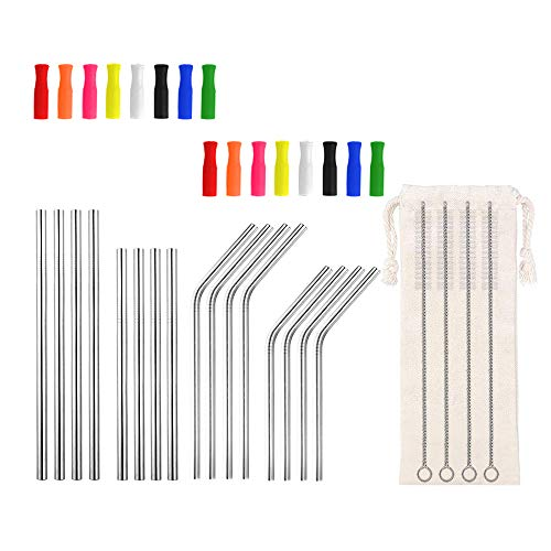 Reusable Cocktail Straws for Drinks Kids Short Metal Straws Mini Stainless Steel Straws with SIlicone Tips for Wine TumblersShort Coffee Mugs 55 65 6mm Bent Straight StrawsSilver