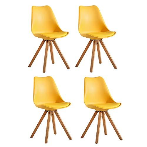 YAWEDA Nórdica Tulip sillas Comedor Moderno, Juego 4, Asiento Acolchado Suave, Patas Madera Maciza Haya Natural, Respaldo Forma ergonómica (Color : Yellow)