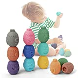 SOOKU Baby Blocks Toys, 12PCS Soft Stacking Building Blocks Baby Teethers Toys, Montessori Sensory Infant Bath Squeeze Play Toy for Toddlers, Numbers Animals Shapes Textures Toy for 6 Months and Up
