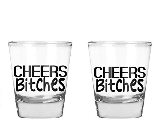 AW Fashions Cheers Bitches - Bachelorette Party Shot Glasses, 21st Birthday Shot Glass - 2 Pack Round Set of Shot Glass