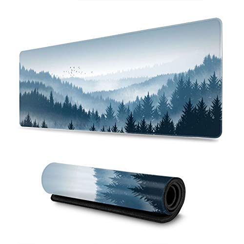 Fog Mist Pine Forest in Blue Mountains Gaming Mouse Pad XL, Extended Large Mouse Mat Desk Pad, Stitched Edges Mousepad, Long Non-Slip Rubber Base Mice Pad, 31.5 X 11.8 Inch