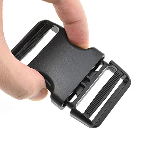HAO PRO Quick Side Release Buckles Clips Snaps Dual Adjustable No Sewing Heavy Duty Plastic 1.5' Wide 2 Pack Replacement for Nylon Strap Boat Cover Backpack Fanny Pack Nylon Webbing Belt Dog Collars