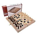 YXDS Ajedrez Internacional, Juego de ajedrez Plegable, Tablero de Madera portátil, ajedrez, Juegos de Viaje, Juego de ajedrez para niños, ajedrez para Adultos