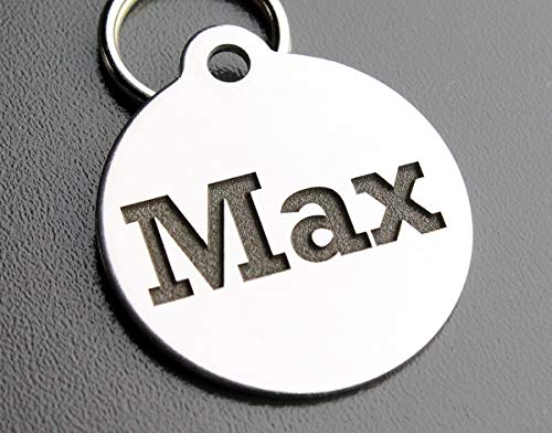 Pawsitively Pet Tags DEEP Custom Stainless Steel Pet ID Tags Front and Back Engraved Dog Tags Personalized for Dogs and Cats (Round 1-1/4'X1-1/8)