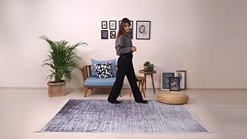 BESYILDIZ KALiTE HALI Designer Teppich Modern Wohnzimmer Esszimmer Schlafzimmer Bordüre Hochwertig Meliert Kurzflor bedruckter Lila-Grau
