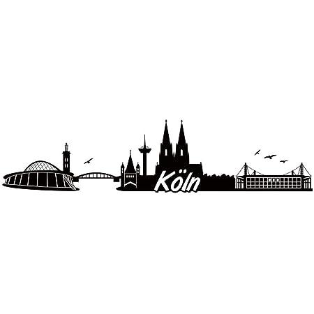 Samunshi Köln Skyline Aufkleber Sticker Autoaufkleber City Gedruckt In 7 Größen 15x3 6cm Schwarz Küche Haushalt