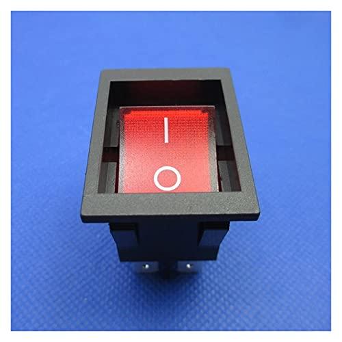 Kfdzsw Interruptor basculante 2 PCS Nueva RK1-03 Tabla de calefacción eléctrica Cambio de Rocker Inlay Tipo 4 Pines con luz 16A 250VAC Tamaño Alrededor de 38x28mm (Color