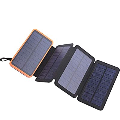 Solar Power Bank, 25000mAh Portable Solar Charger with 4 Solar Panels and LED Flashlight, Waterproof 2.1A USB Outputs, Compatible for cellphones &Tablets
